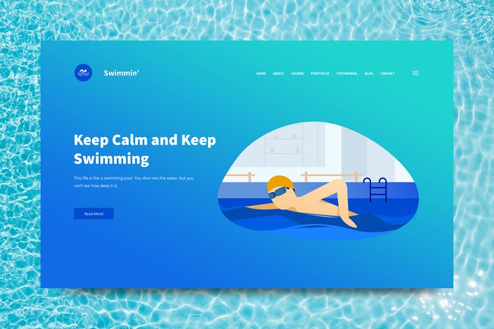 Thumbnail for Swimming Web Header PSD and Vector Template