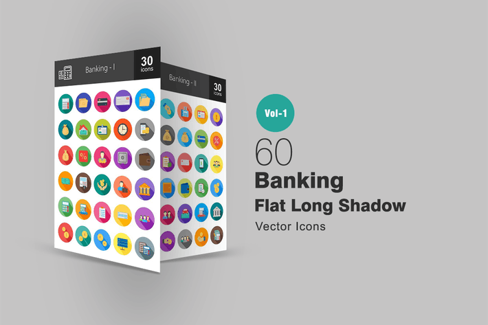 Thumbnail for 60 Banking Flat Long Shadow Icons