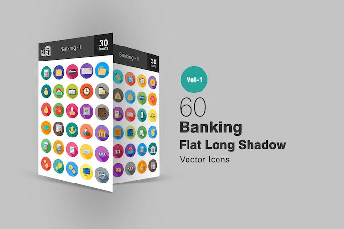 Thumbnail for 60 Banking Flat Long Shadow Icons