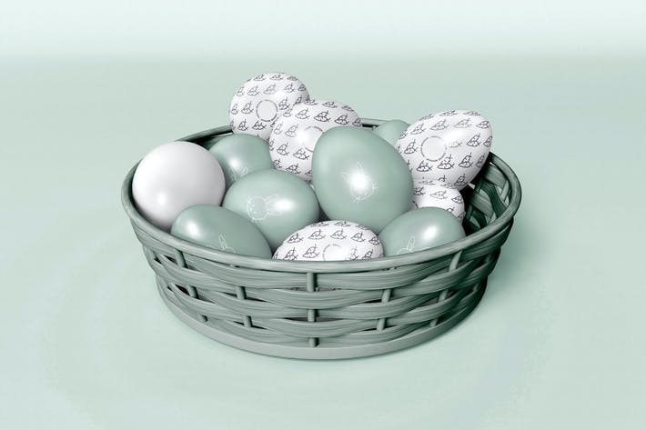 Easter Eggs on a Basket Mockup