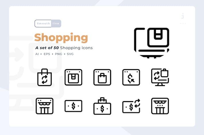 Thumbnail for Smoothline - 50 Shopping icon set