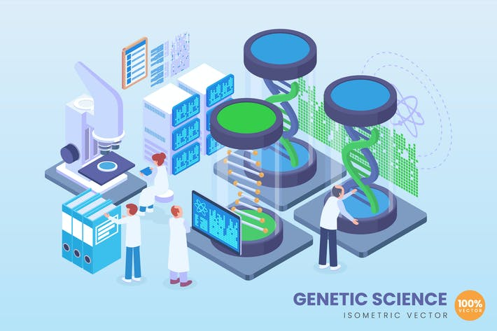 Thumbnail for Isometric Genetic Science Vector Concept