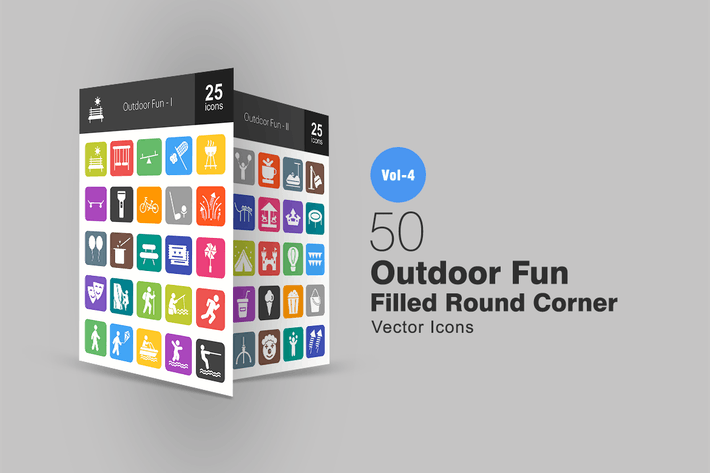 Cover Image For 50 Outdoor Fun Flat Round Corner Icons