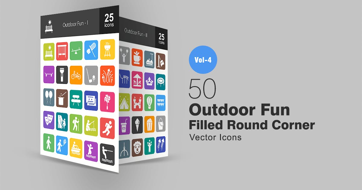 Download 50 Outdoor Fun Flat Round Corner Icons by IconBunny