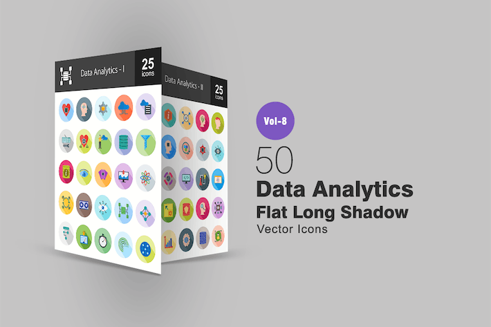 Thumbnail for 50 Data Analytics Flat Shadowed Icons