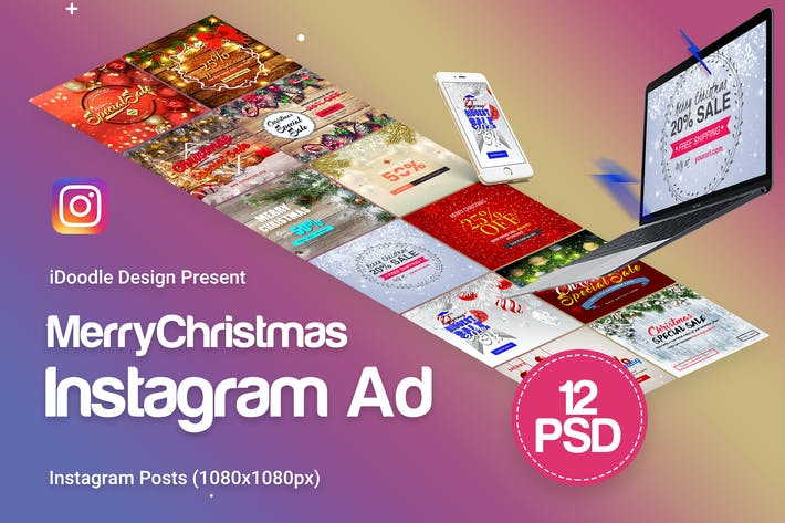 Thumbnail for Merry Christmas Instagram Posts - 12PSD