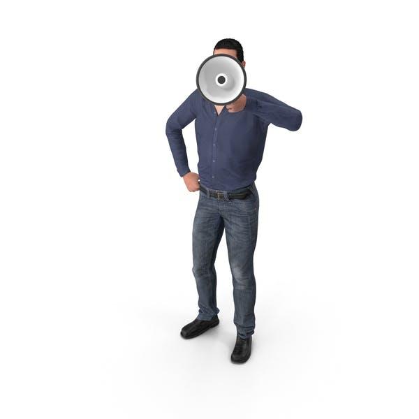 Casual Man James Holding Loudspeaker
