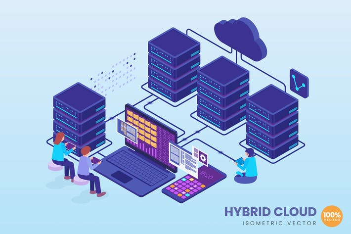 Isometric Hybrid Cloud Concept