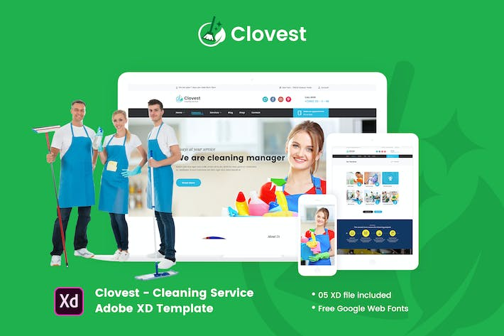 Thumbnail for Clovest - Cleaning Service Adobe XD Template