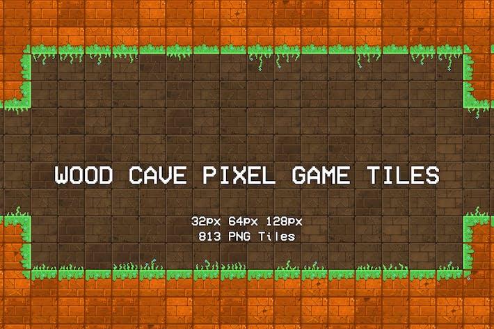 Wood Cave Pixel Game Tiles