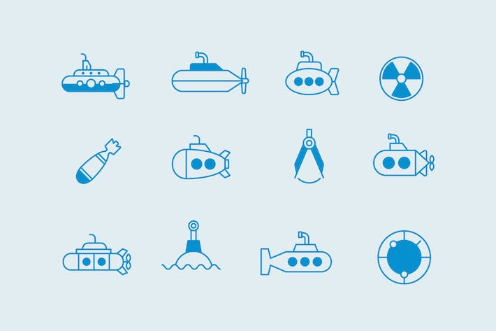 Thumbnail for 12 Submarine Icons