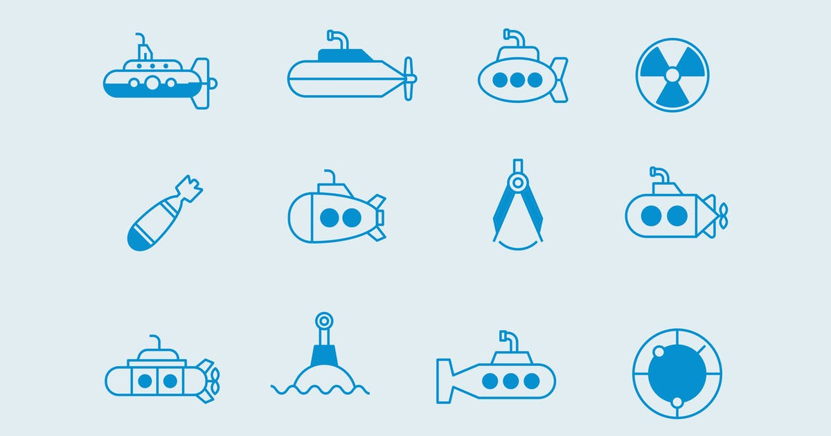 Download 12 Submarine Icons by creativevip
