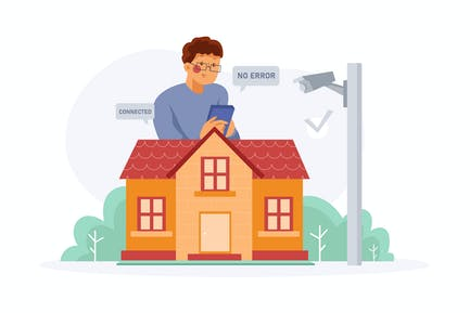 Wireless Home Protection Illustration Concept