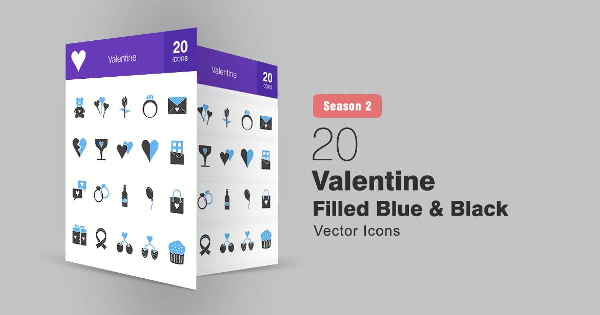 Download 20 Valentine Filled Blue & Black Icons by IconBunny