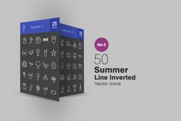 Thumbnail for 50 Summer Line Inverted Icons