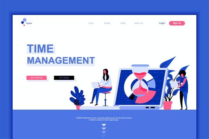 Thumbnail for Time Management Flat Landing Page Template