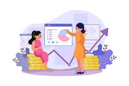 Two girls are exploring the benefits of the stock