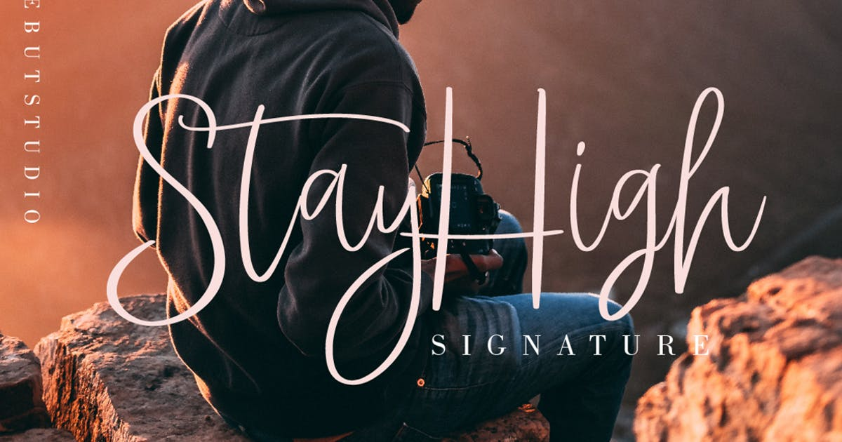 Download StayHigh // Signature Font by DebutStudio