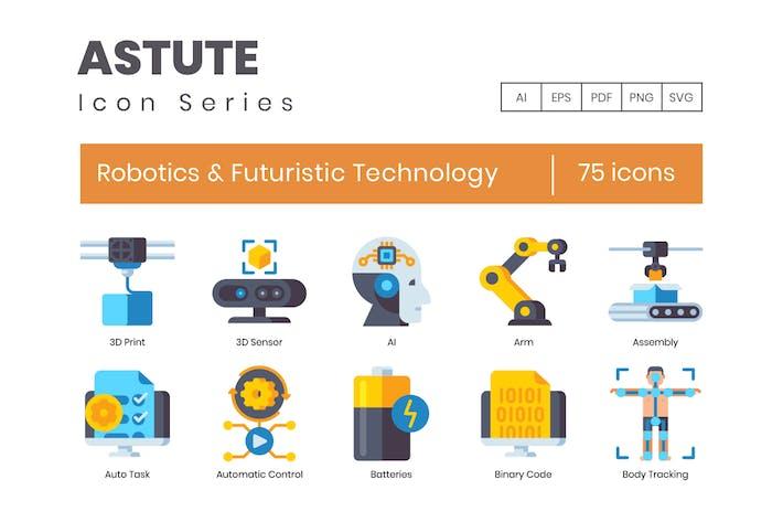 Thumbnail for 75 Robotics & Futuristic Technology Flat Icons