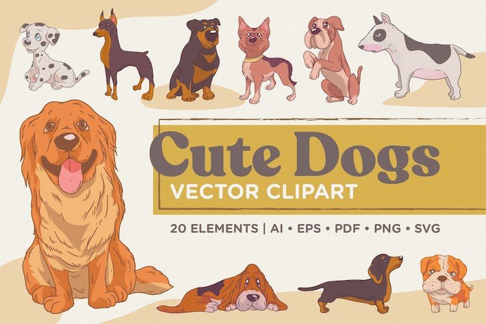 Thumbnail for Cute Dogs Vector Clipart Pack