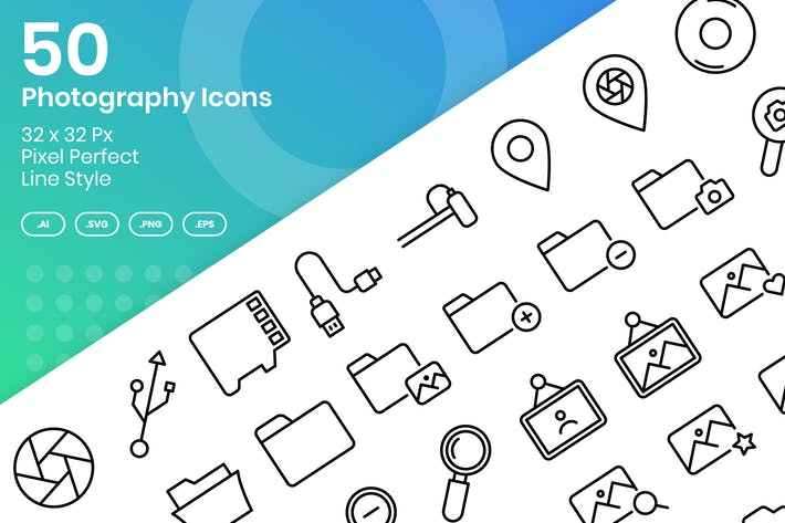 Thumbnail for 50 Photography Icons Set Vol 1 - Line