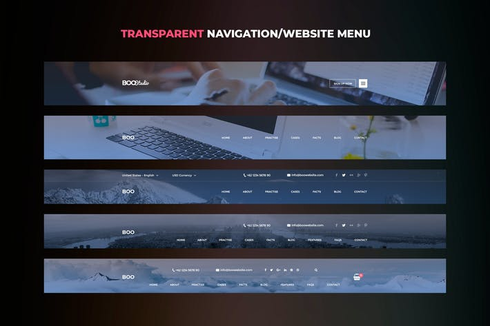 Thumbnail for Transparent Website Menu UI Kits vol. 01