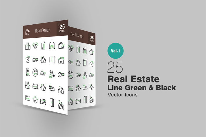 Thumbnail for 25 Real Estate Line Green & Black Icons