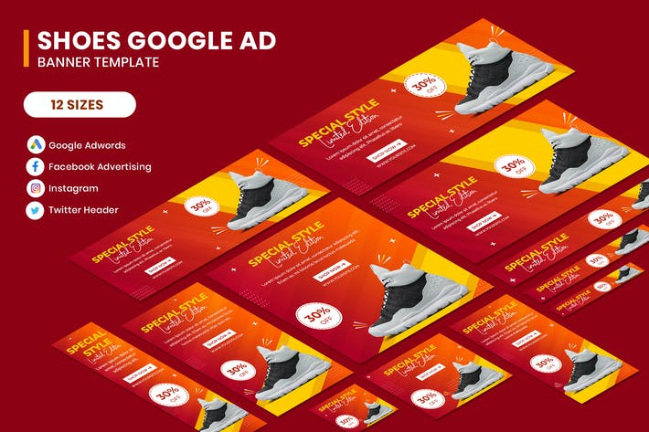 Thumbnail for Shoes Google Adwords Banner Template
