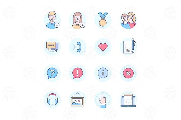 Thumbnail for Social media - modern line design style icons set