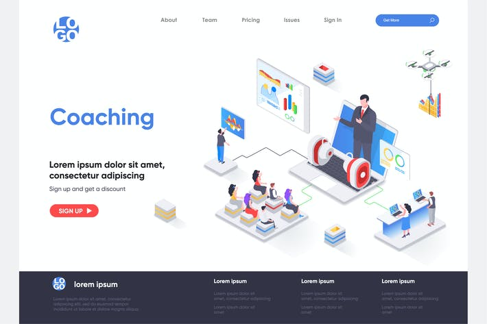 Thumbnail for Coaching Isometric Landing Page Template