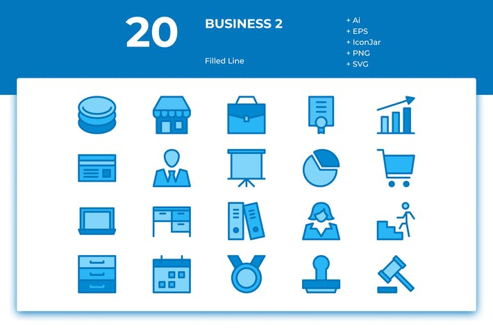 Cover Image For 20 Business Icons Vol. 2 (Filled Line)