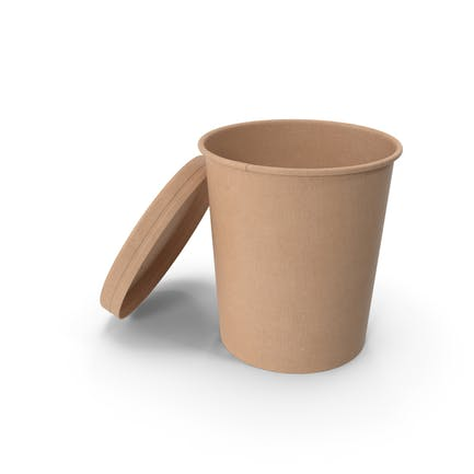 Kraft Paper Food Cup with Vented Lid Disposable Ice Cream Bucket 32 Oz 900 ml Open