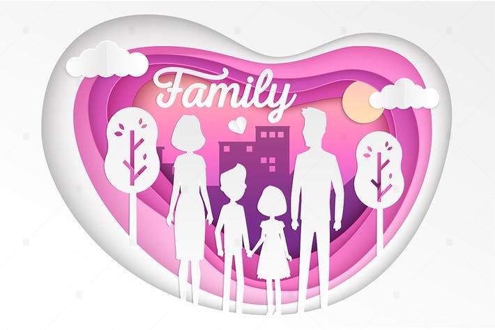 Thumbnail for Family - modern vector paper cut illustration