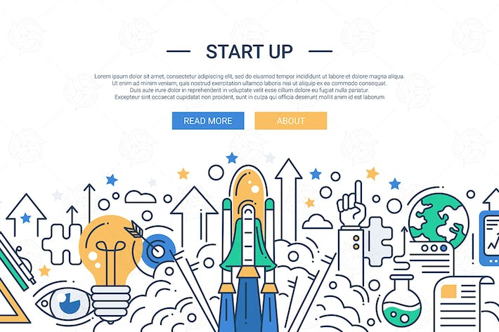 Thumbnail for Illustration of modern start up line flat design