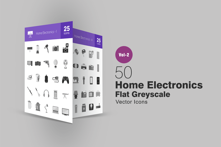 Thumbnail for 50 Home Electronics Greyscale Icons