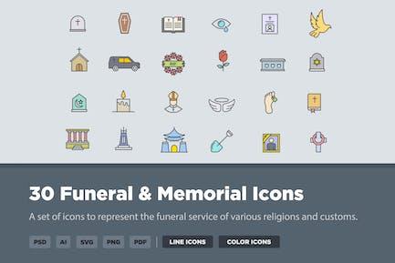 30 Funeral & Memorial Icons