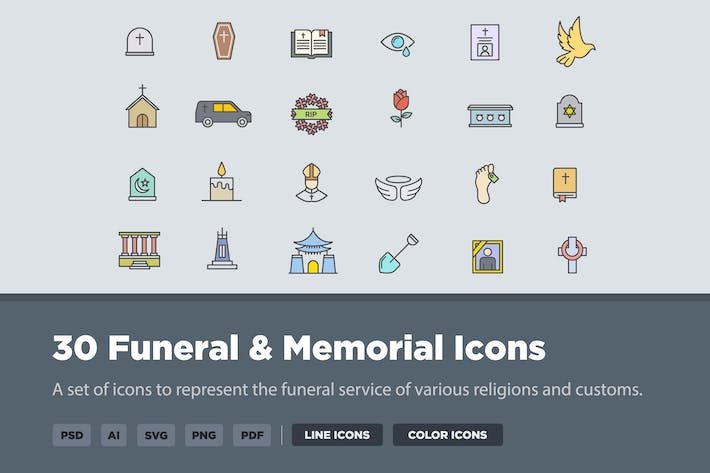 Thumbnail for 30 Funeral & Memorial Icons