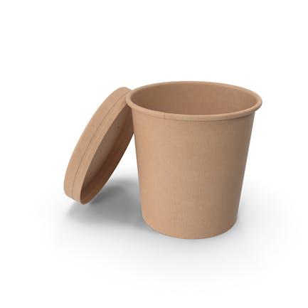 Taza de comida de papel kraft con tapa ventilada, desechable, cubo de helado desechable, 450 ml, abierto