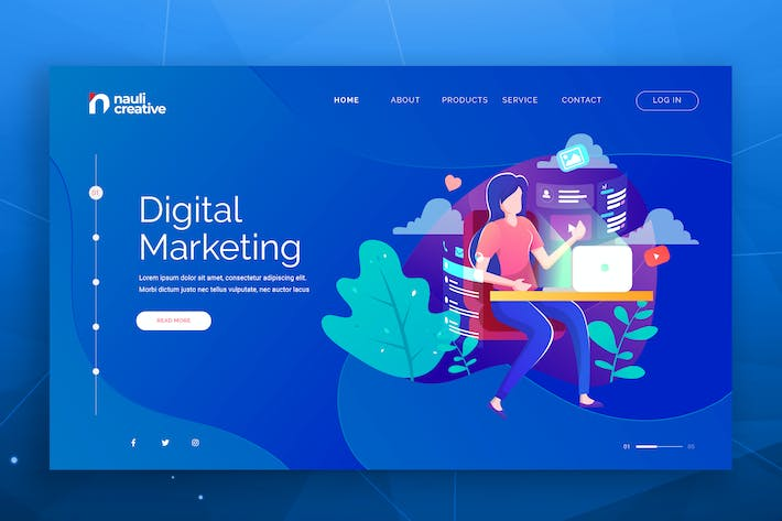 Thumbnail for Digital Marketing Web PSD and AI Vector Template