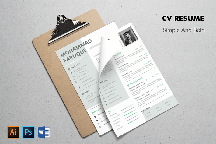 Thumbnail for CV Resume Minimal And Bold