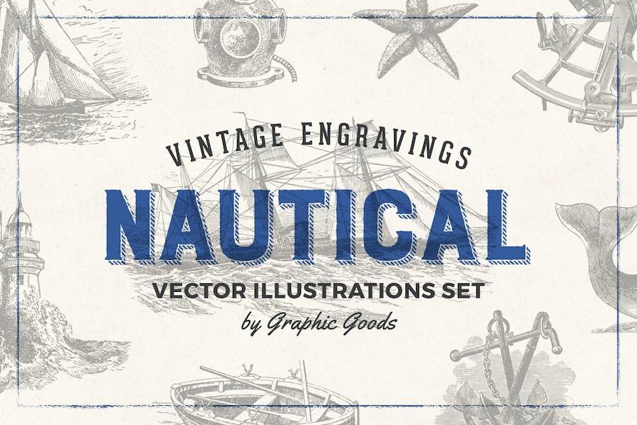 Nautical Engraving Illustration Set