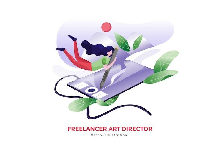 Thumbnail for Freelancer Art Director Vektor illustration