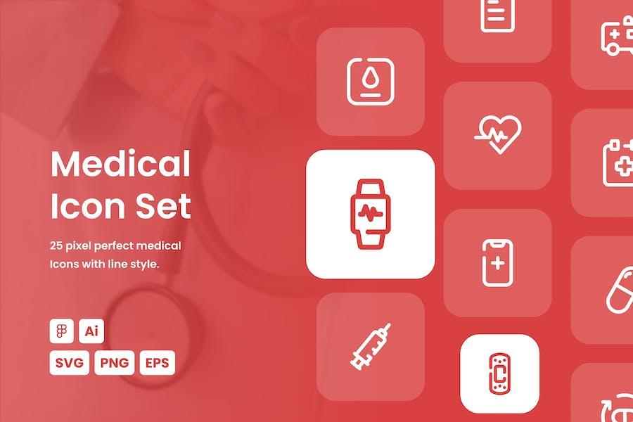 Medical Dashed Line Icon Set