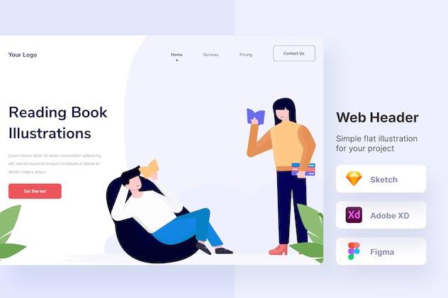 Reading Book Illustration Web Header