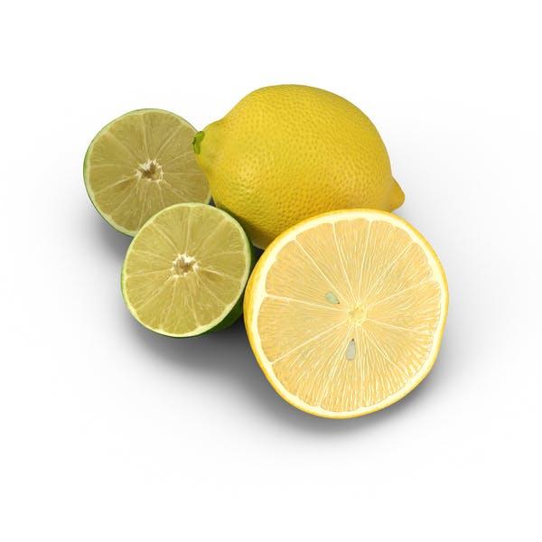 Zitrone und Halbierte Limette