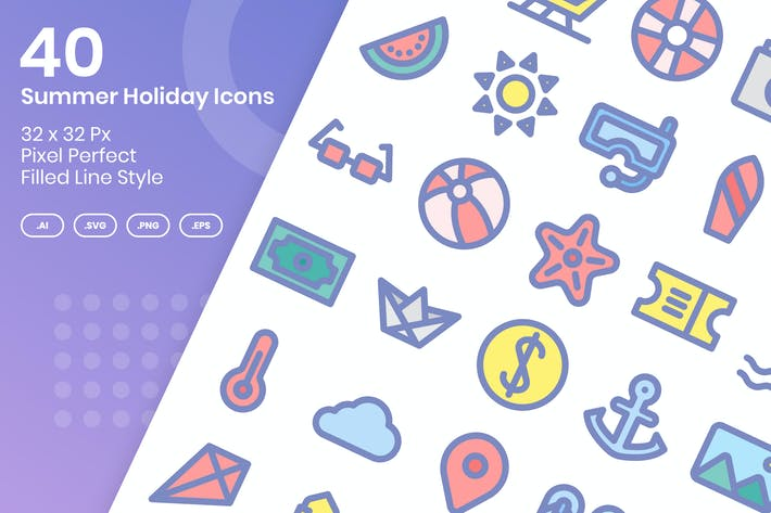 Thumbnail for 40 Summer Holiday Icons - Filled Line