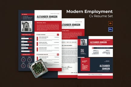 Modern Employment CV Resume Set