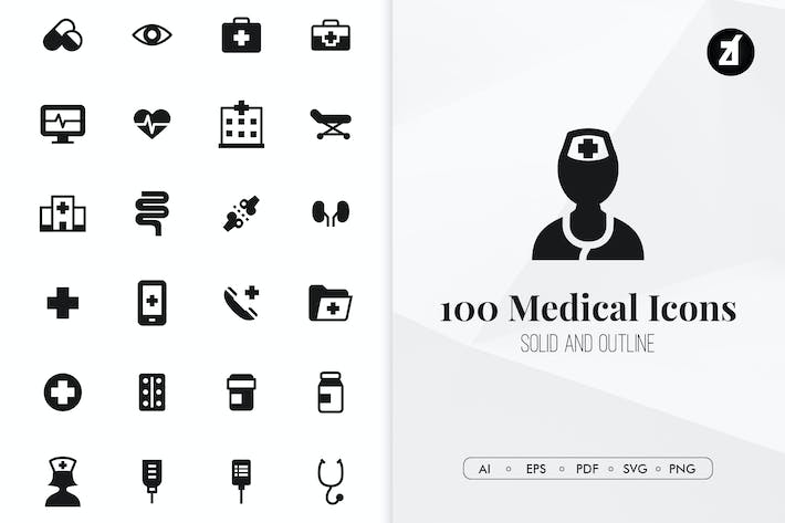 Cover Image For 100 Medical minimal icons