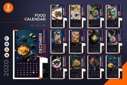 Food Restaurant 2020 Calendar - AI, DOC, PSD