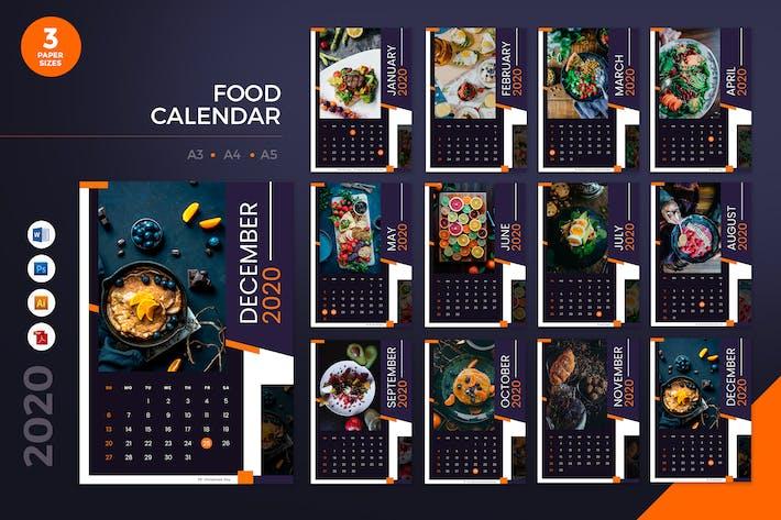 Thumbnail for Food Restaurant 2020 Calendar - AI, DOC, PSD